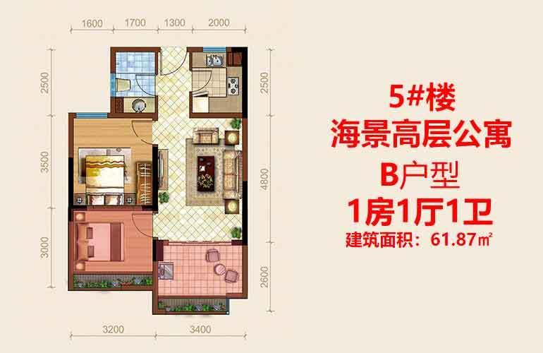 海阳城 B户型1室1厅1卫建面61.87㎡