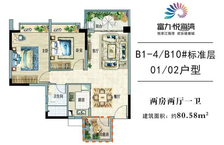 富力悦海湾 B1-4/B10# 01/02户型 2室2厅1卫 建面80㎡