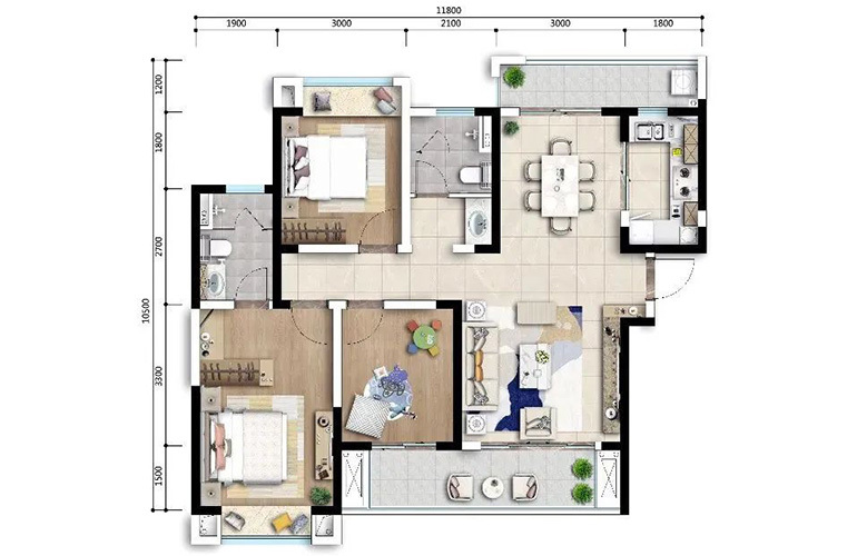 古滇名城 C2户型 3室2厅2卫1厨 建面117㎡