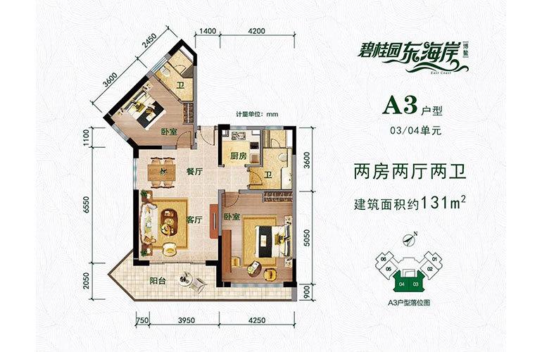 碧桂园东海岸 A3户型 2室2厅2卫 建面131㎡