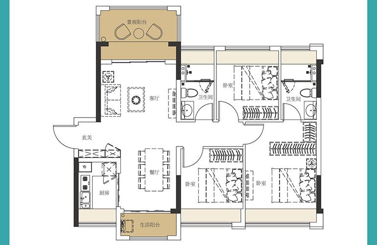 龙光玖誉湾 E2户型 3室2厅2卫1厨 建面96㎡