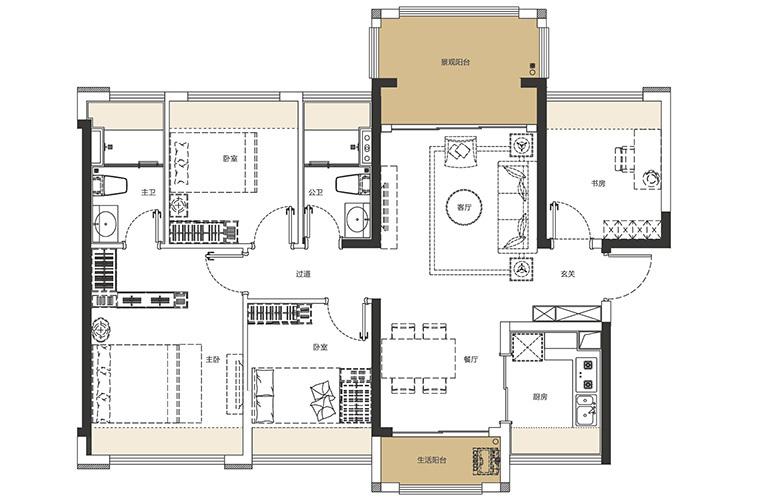 龙光玖誉湾 F1户型 4室2厅2卫1厨 建面107-111㎡