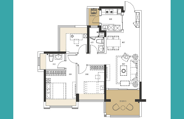 龙光玖誉湾 D2、D3户型 3室2厅2卫1厨 建面89-92㎡