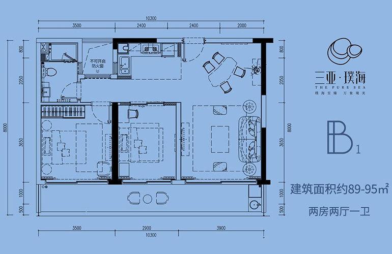 三亚璞海 B1户型 2房2厅1卫 建面89㎡