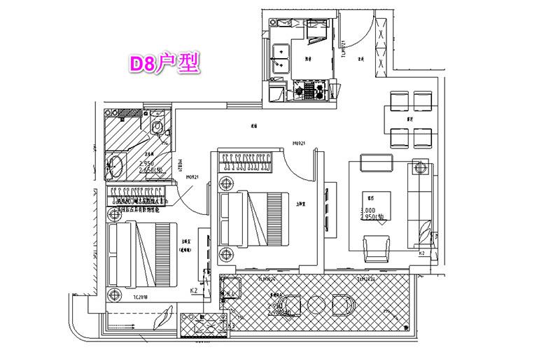 古滇名城 D8户型 2室2厅1卫1厨 建面87㎡