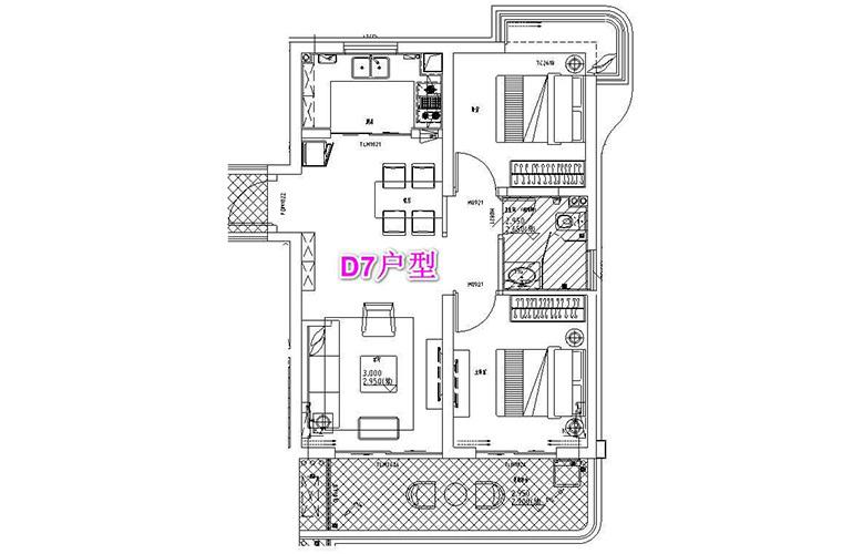 古滇名城 D7户型 2室2厅1卫1厨 建面86㎡