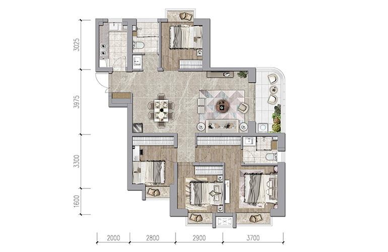 保利和光屿湖 125㎡户型 4室2厅2卫1厨 建面125㎡