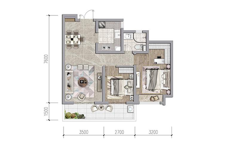 保利和光屿湖 85㎡户型 2室2厅1卫1厨 建面85㎡