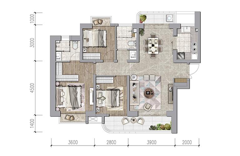 保利和光屿湖 115㎡户型 3室2厅2卫1厨 建面115㎡