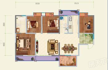 枫丹耀兴公馆 四房户型 4室2厅2卫1厨 建面154㎡