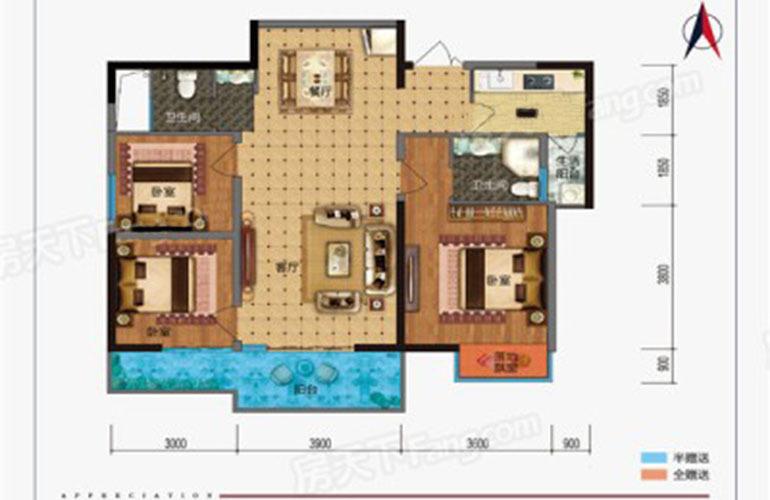 枫丹耀兴公馆 A户型 4室2厅2卫1厨 建面126㎡