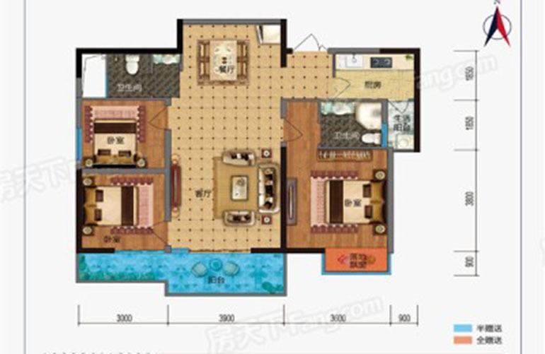 枫丹耀兴公馆 A户型 3室2厅2卫1厨 建面112㎡
