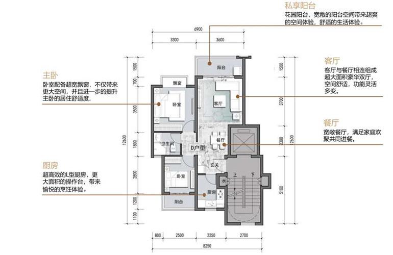 绿地滇池国际健康城 洋房70㎡户型 2室2厅1卫1厨 建面70㎡