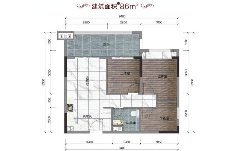碧桂园雪茄风情小镇 海伦小筑户型 3室1厅1卫 建面86㎡