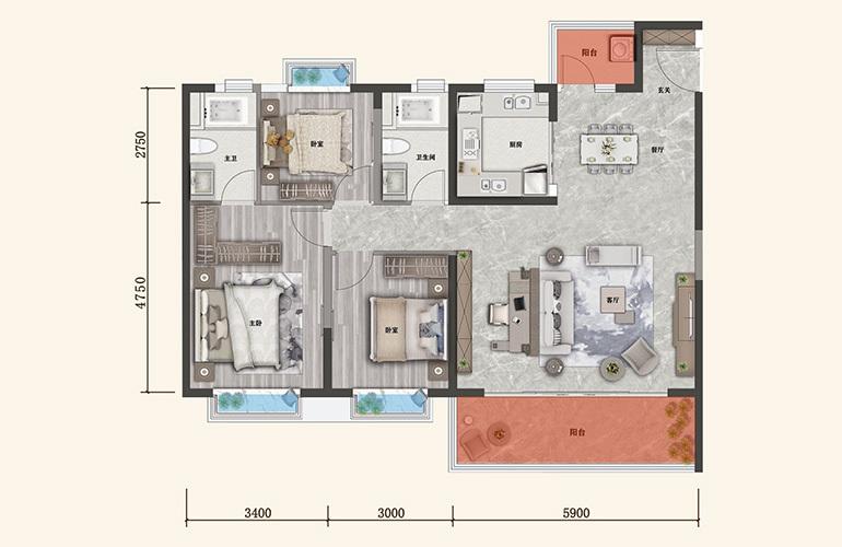 保利城 B户型 3室2厅2卫1厨 建面129㎡