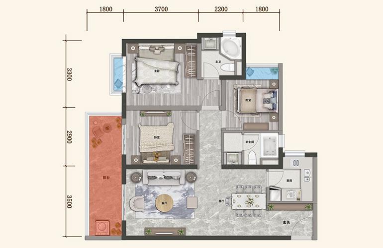 保利城 E户型 3室2厅2卫1厨 建面105㎡