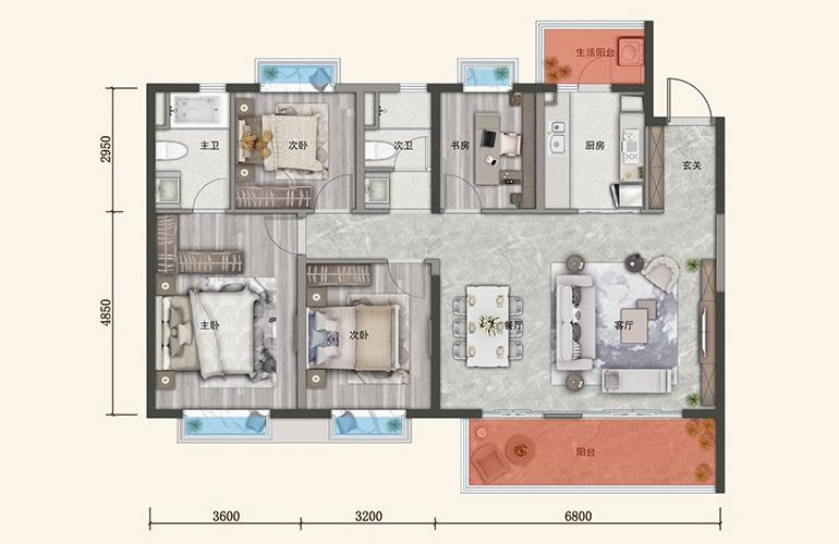保利城 A户型 4室2厅2卫1厨 建面142㎡