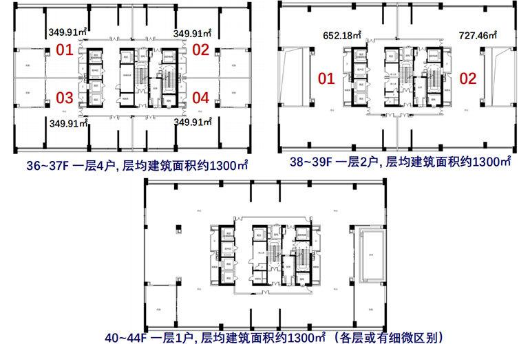 碧桂园三亚国际传媒中心 35-44F云端IMC-FLAT企业总部办公楼层平面图