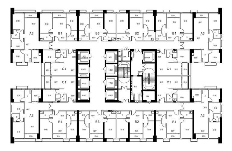 碧桂园三亚国际传媒中心 6-34F云舍IMC-SOHO创投空间楼层平面图