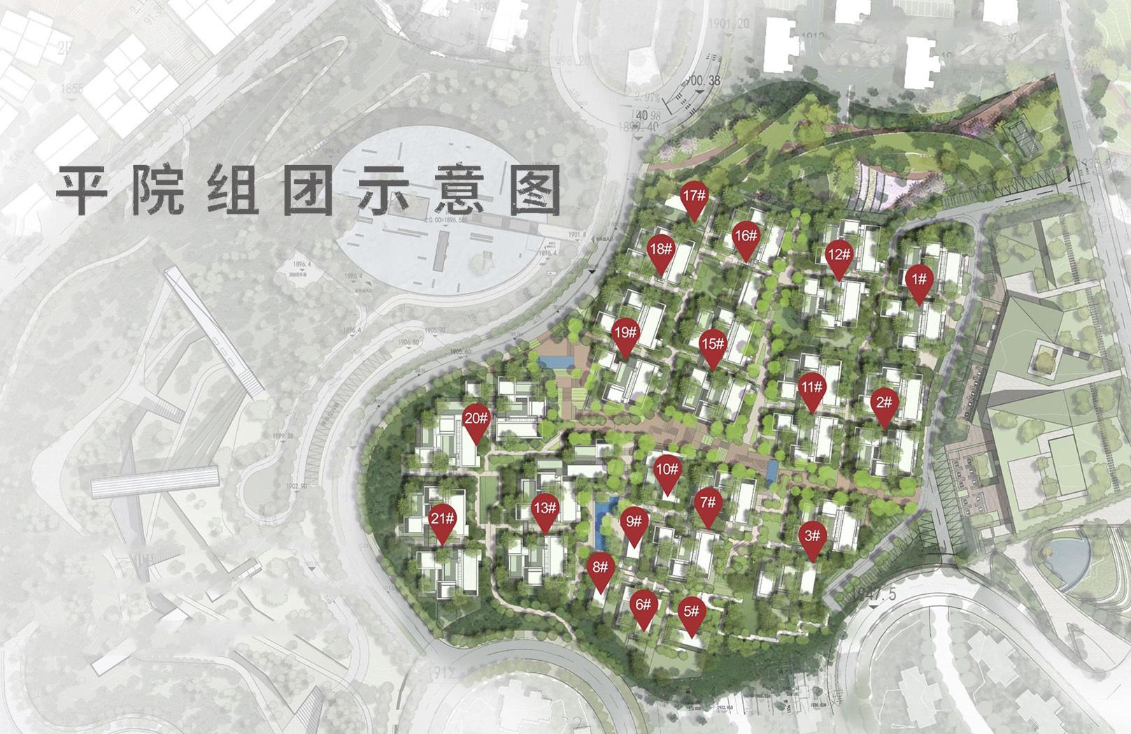 万科抚仙湖别墅 平院组团楼栋分布平面图