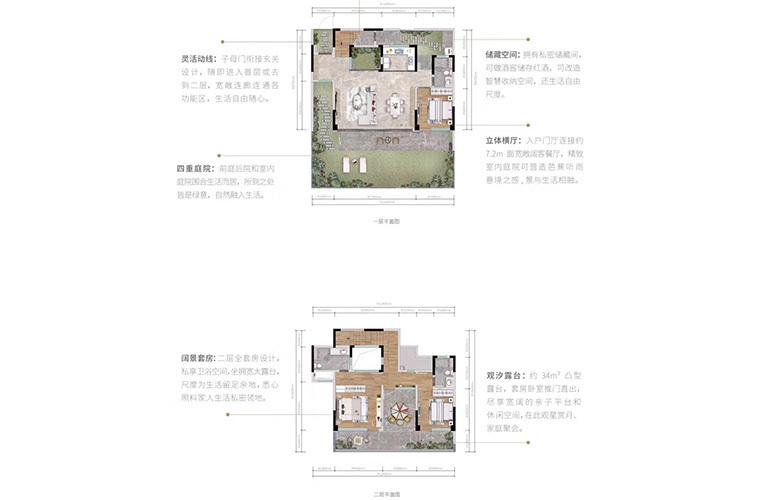 万科抚仙湖别墅 153㎡户型 3室2厅3卫1厨 151.91-153.29㎡
