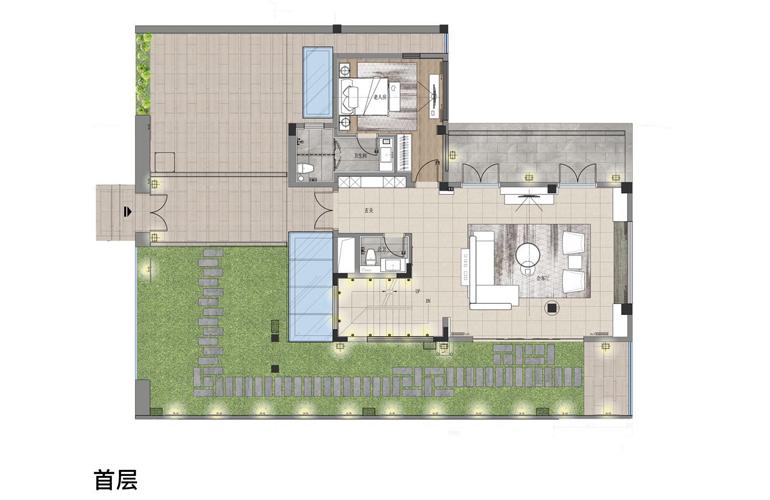 亚龙湾水岸君悦 VA户型 5房2厅7卫 建面约155.66㎡  首层