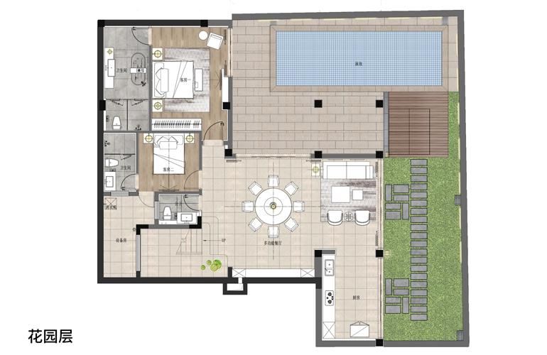 亚龙湾水岸君悦 VA户型 5房2厅7卫 建面约155.66㎡  花园层