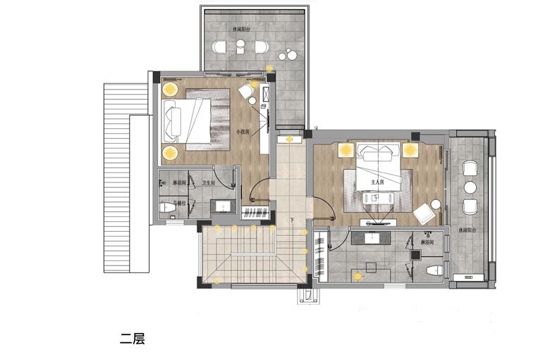 亚龙湾水岸君悦 VA户型 5房2厅7卫 建面约155.66㎡  二层