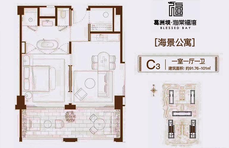 葛洲坝海棠福湾 C3户型 1室1厅1卫 建面91㎡