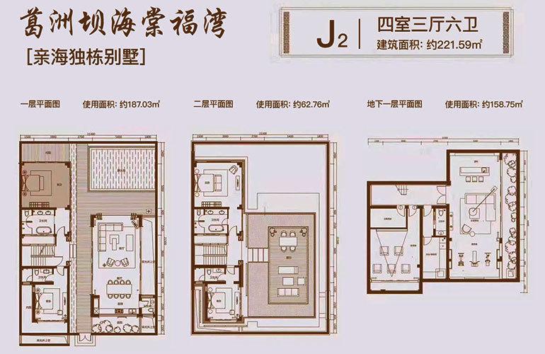 葛洲坝海棠福湾 独栋别墅J2户型 4室3厅6卫 建面221㎡
