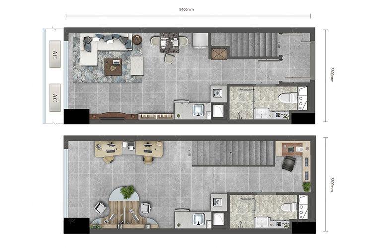 loft户型 1室1厅1卫 建面48㎡
