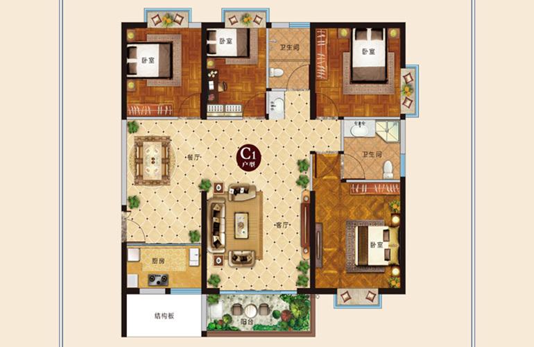 麒麟嘉园2期 C1户型 4室2厅2卫1厨 建面126㎡