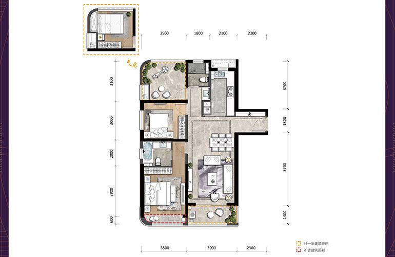 高新宝龙城 D户型 3室2厅2卫1厨 建面108㎡