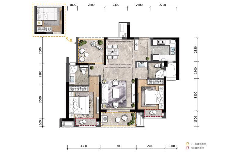 高新宝龙城 A户型 2室2厅2卫1厨 建面98㎡