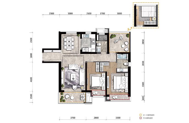 高新宝龙城 B户型 2室2厅2卫1厨 建面108㎡