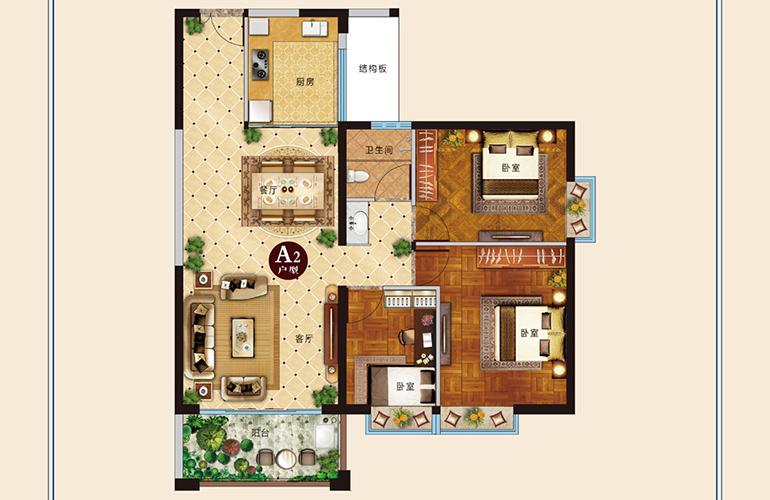 麒麟嘉园2期 A2户型 3室2厅1卫1厨 建面104㎡