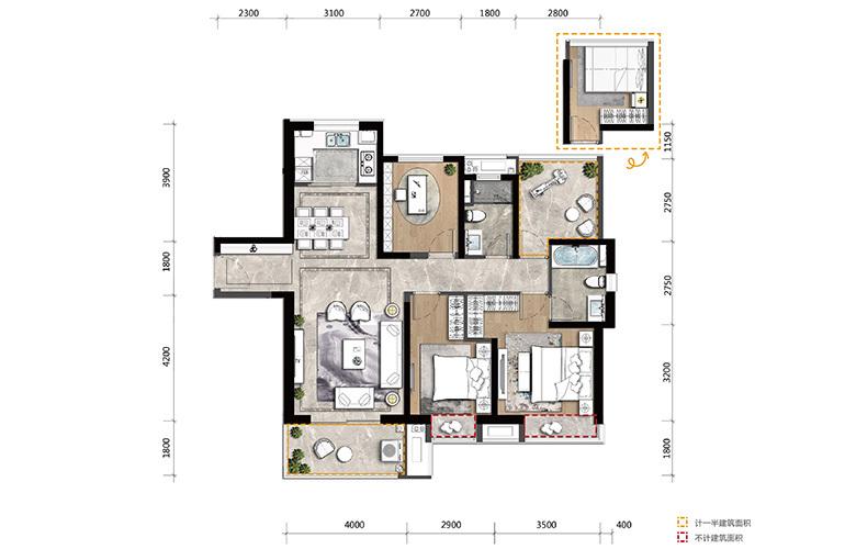 高新宝龙城 C户型 4室2厅2卫1厨 建面121㎡