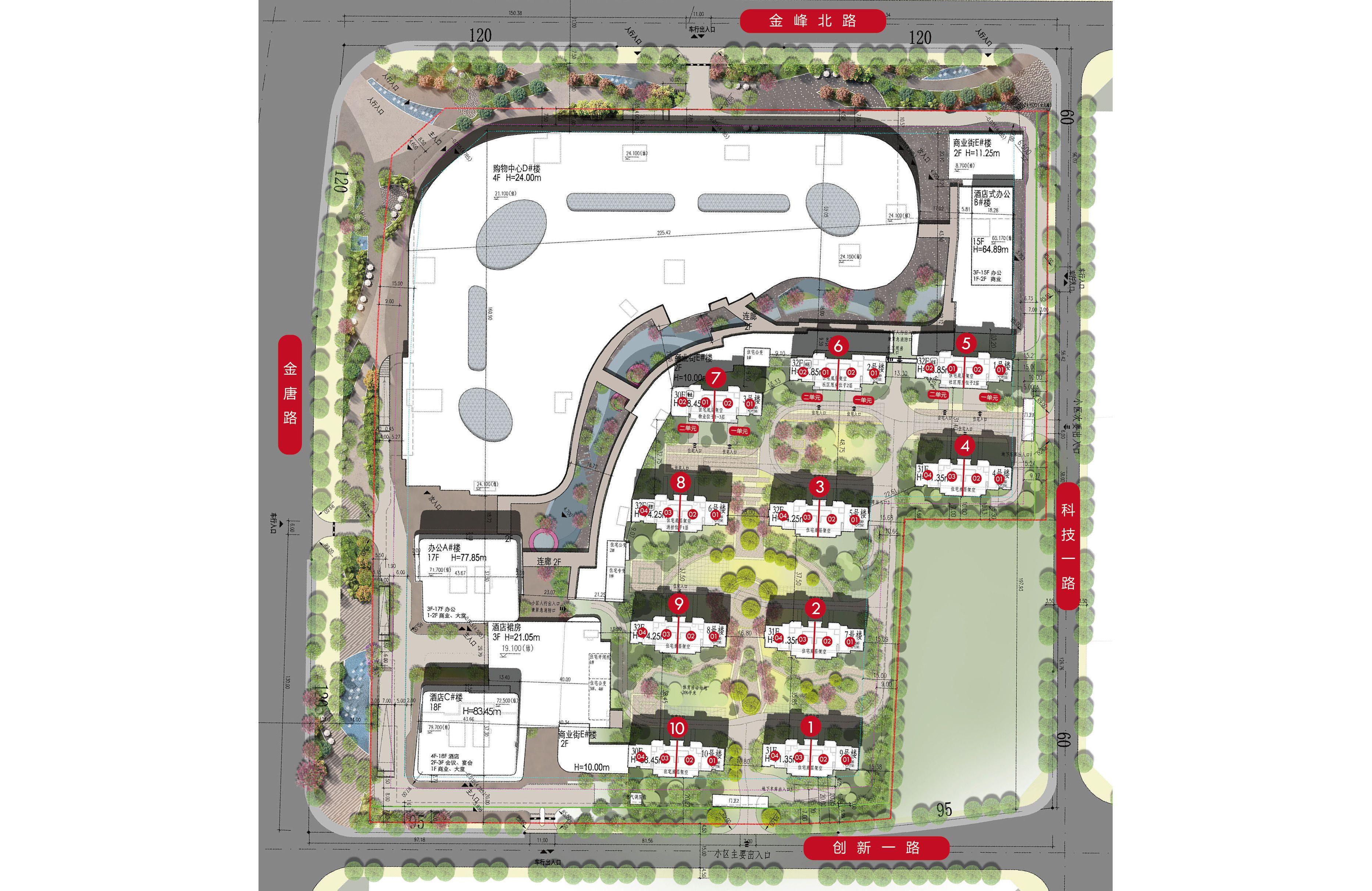 高新宝龙城 楼栋分布平面图