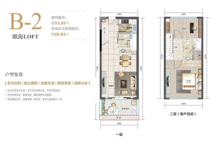 国瑞红塘湾 LOFTB-2户型 2室2厅 建面54㎡