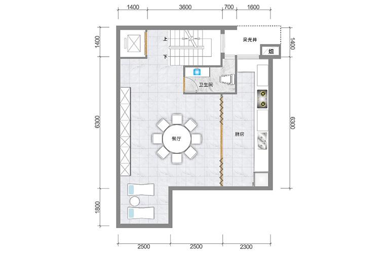 春城365 臻墅户型夹层 3室3厅5卫1厨 实得面积356㎡