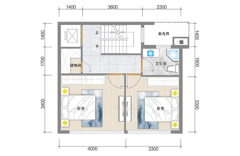 春城365 臻墅户型二层 3室3厅5卫1厨 实得面积356㎡