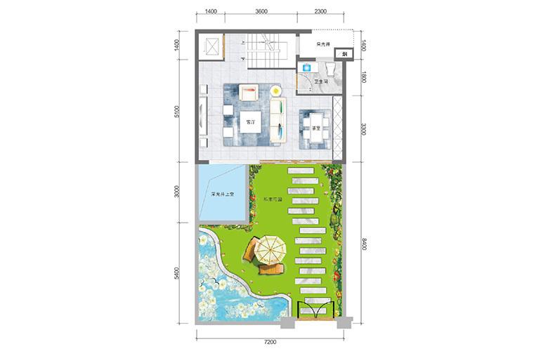 春城365 臻墅户型一层 3室3厅5卫1厨 实得面积356㎡