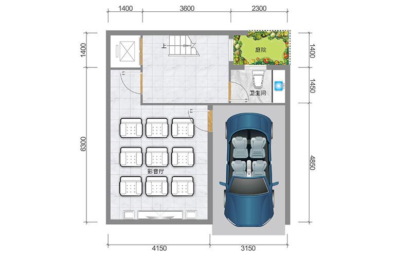 春城365 臻墅户型负一层 3室3厅5卫1厨 实得面积356㎡