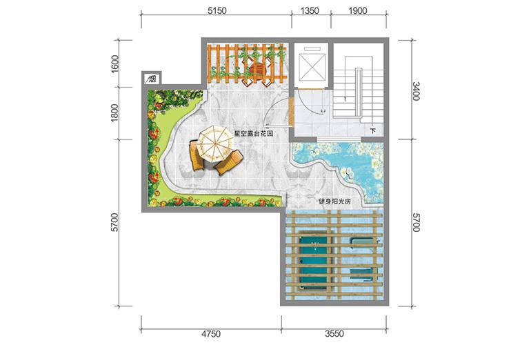 春城365 藏墅户型顶层 5室5厅6卫1厨 实得面积502㎡