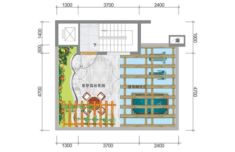 春城365 臻墅户型顶层 3室3厅5卫1厨 实得面积356㎡
