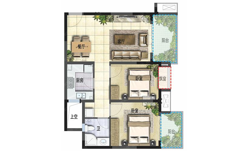 成都融创文旅城 两室两厅一卫一厨 建面76㎡