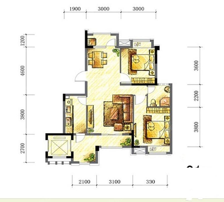 凤凰湖国际社区 两室两厅一卫一厨 建面86㎡