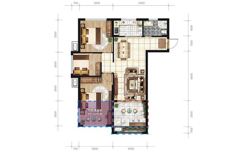 中商海花东岸 A户型 3室2厅1卫1厨 建面88.5㎡