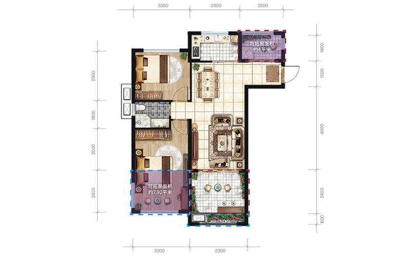 中商海花东岸 B户型 2室2厅1卫1厨 建面78.7㎡