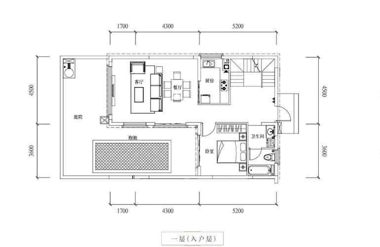 温泉山谷 B3户型一层 三室两厅三卫一厨 建面136㎡